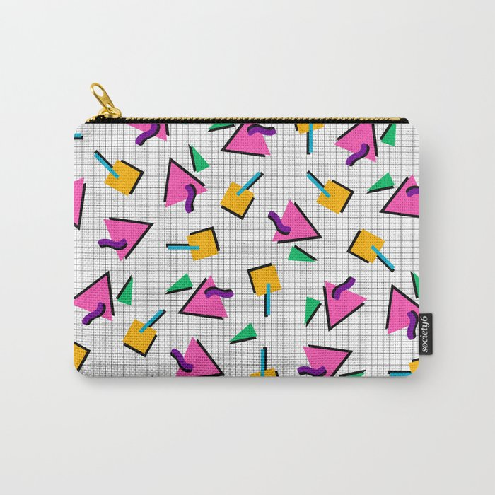90's Geometric Print Carry-All Pouch