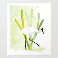 crane Art Prints featuring Crane by Xiao Twins