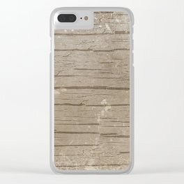Nautical Driftwood Wood Grain Pattern Clear iPhone Case