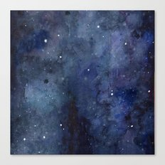 Galaxy Nebula Watercolor Night Sky Stars Outer Space Blue Texture Canvas Print