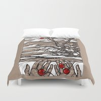 cherry Duvet Covers featuring Cherry by Iris V.