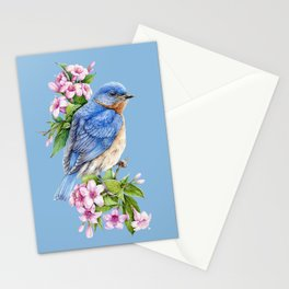 Botanical Blue Bird Stationery Cards