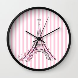 Pink Paris Eiffel Tower Wall Clock