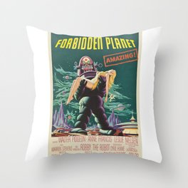 Vintage Classic Movie Posters, Forbidden Planet Throw Pillow