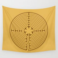 labyrinth Wall Tapestries featuring Chartres Labyrinth by tuditees