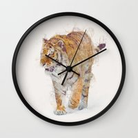 tiger Wall Clocks featuring Tiger  by Daniel Taylor