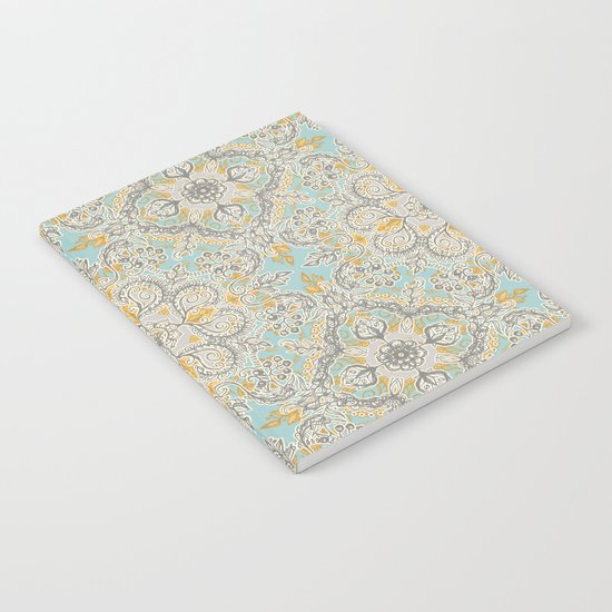 Gypsy Floral in Soft Neutrals, Grey & Yellow on Sage Notebook