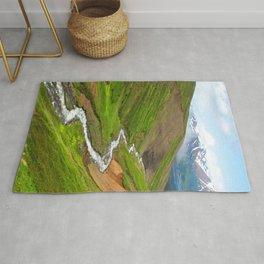 Watercolor Landscape, Trollskagi 32, Iceland Rug