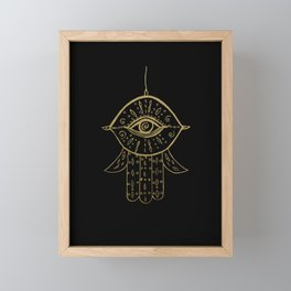 Hamsa Hand Gold on Black #1 #drawing #decor #art #society6 Framed Mini Art Print