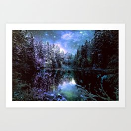 A Cold Winters Night : Violet Teal Green Winter Wonderland Art Print