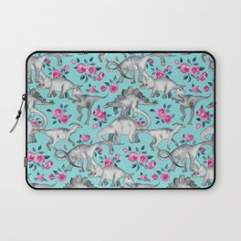 Dinosaurs and Roses - turquoise blue Laptop Sleeve