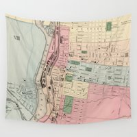manchester Wall Tapestries featuring Vintage Map of Manchester New Hampshire (1877) by BravuraMedia