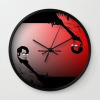stephen king Wall Clocks featuring Stephen King Rules by Hazel Bellhop