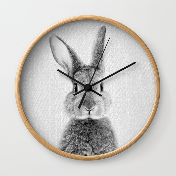 Rabbit - Black & White Wall Clock