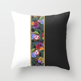 Watercolor Flowers Black White Gold Color Blocks Throw Pillow