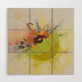 Autmn Floral Umbrella Wood Wall Art