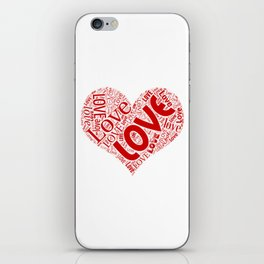 Heart Shaped Word Cloud written with Love iPhone Skin