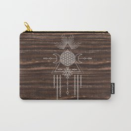 Triple Goddess - Flower of Life - Moon Phase - Shaman - Tribal - Sri Yantra - Brown Marble - Wood - Carry-All Pouch