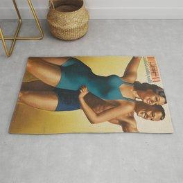 Vintage 1939 Suntan Lotion Diadermina by Gino Boccasile Lithograph Advertisement Rug
