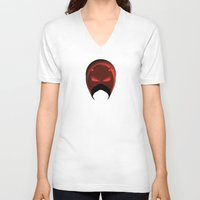 daredevil V-neck T-shirts featuring The Cowl: Daredevil by AWOwens