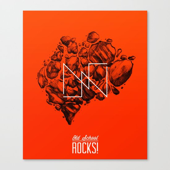 Old School Rocks (Orange Rock Version) Canvas Print