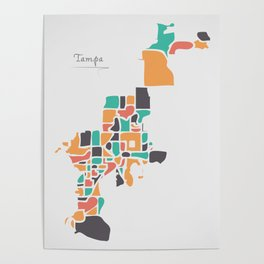 Tampa Florida Map with neighborhoods and modern round shapes Poster