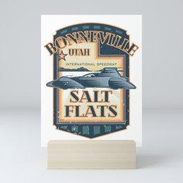 Bonneville Salt Flats International Speedway Vintage Retro Style Illustration Mini Art Print