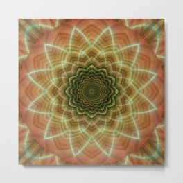 Mandala fractal flower orange Metal Print