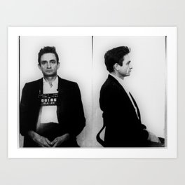 Johnny Cash Mug Shot Horizontal Art Print