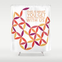 police Shower Curtains featuring Karma Police by Windsor Grace