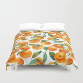 Mandarins With Leaves Duvet Cover