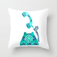 Vintage Rotary Phone – Turquoise Palette Throw Pillow