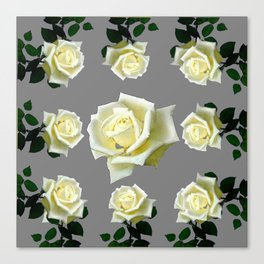 WHITE ROSES GARDEN DESIGN Canvas Print