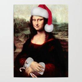 Mona Lisa Wearing a Santa Hat Poster