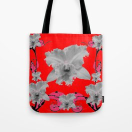 MODERN ART RED ART NOUVEAU WHITE ORCHIDS ART Tote Bag