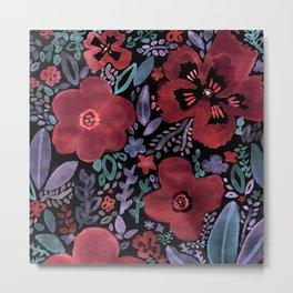 Dark Velvet Floral Metal Print