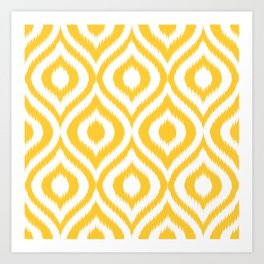 Yellow Ikat Ogee  Art Print