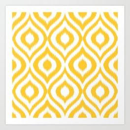 Yellow Ikat Ogee  Art Print