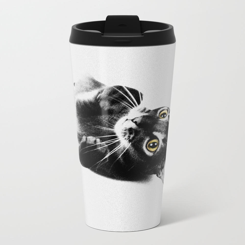 Cute Abyssinian Cat Black And White Travel Mug TRM8874366