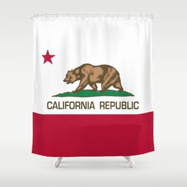 California Republic Flag, High Quality Image Shower Curtain