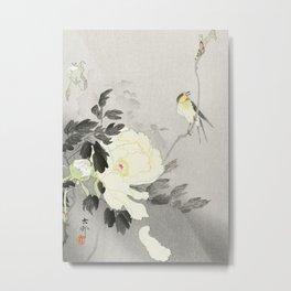 Bird on a Peony tree - Vintage Japanese Woodblock Print Art Metal Print