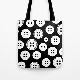 Black and White Buttons Pattern Tote Bag