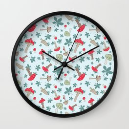 Tiny Toadstools on Mint Wall Clock