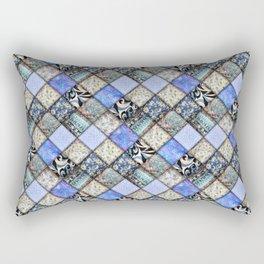 Faux Patchwork Quilting - Blues Rectangular Pillow