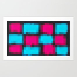 blue pink and black pixel abstract Art Print