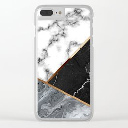 Elegant Silver Marble with Bronze Lining Clear iPhone Case
