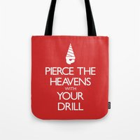 gurren lagann Tote Bags featuring Pierce The Heavens With Your Drill by 5eth