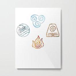 The four Elements Avatar symbols Metal Print