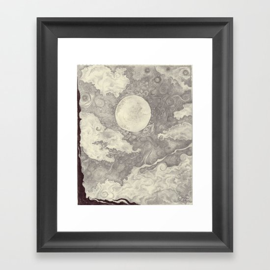 Moon black and white Framed Art Print