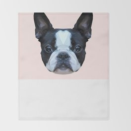 Frenchie / Boston Terrier // Pastel Pink Throw Blanket